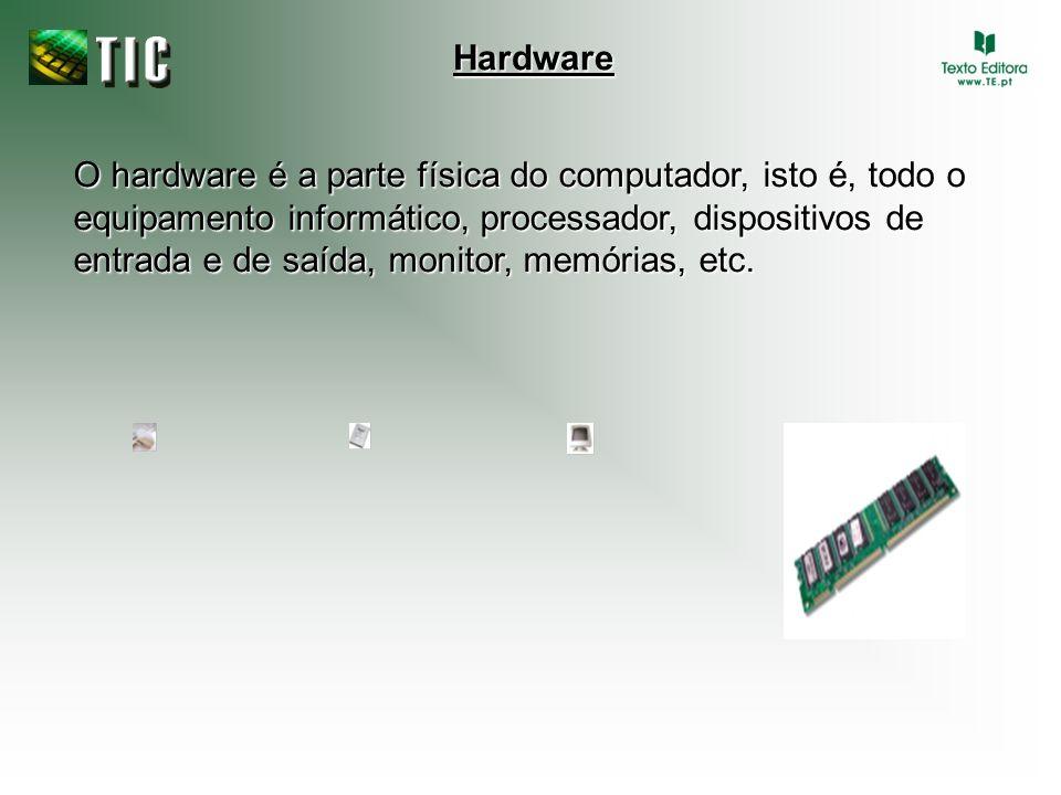 O hardware é a parte física do computador, isto é, todo o equipamento informático, processador, dispositivos de entrada e de saída, monitor, memórias,