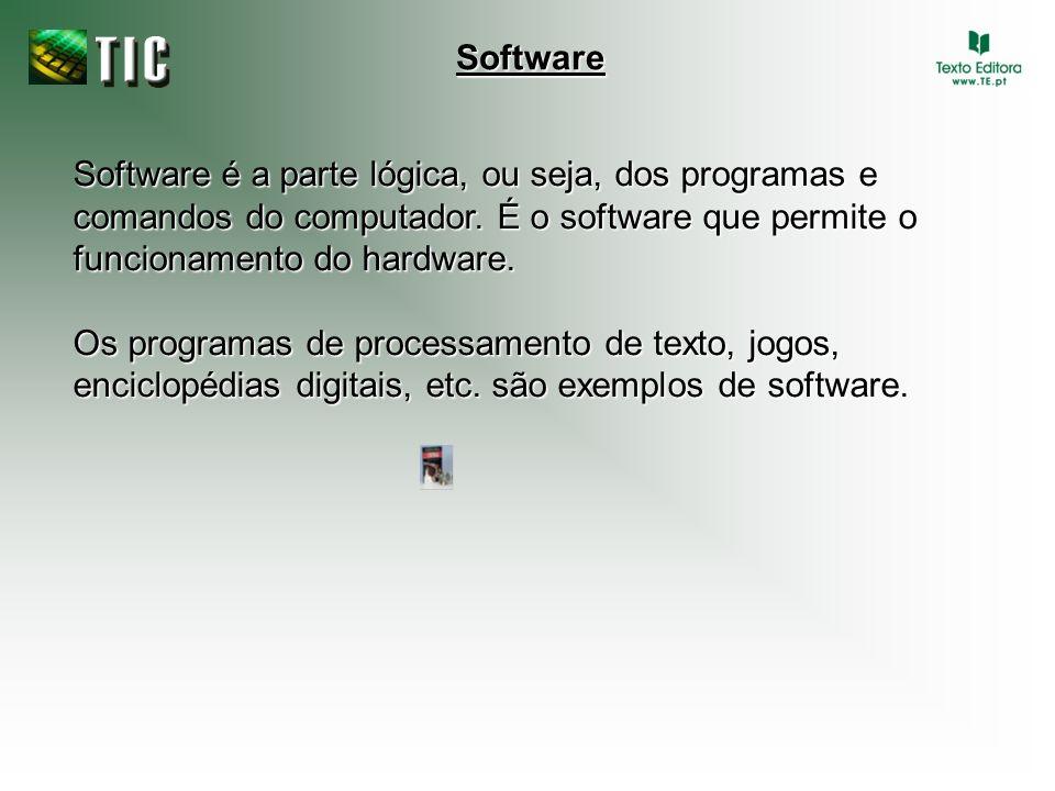 Software é a parte lógica, ou seja, dos programas e comandos do computador. É o software que permite o funcionamento do hardware. Os programas de proc
