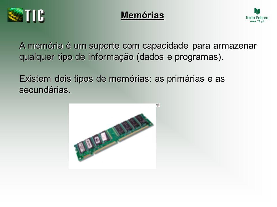 A memória é um suporte com capacidade para armazenar qualquer tipo de informação (dados e programas). Existem dois tipos de memórias: as primárias e a
