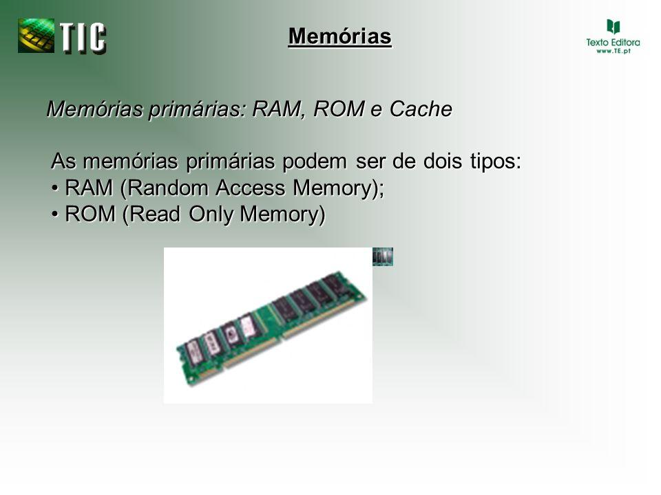 Memórias primárias: RAM, ROM e Cache Memórias As memórias primárias podem ser de dois tipos: RAM (Random Access Memory); RAM (Random Access Memory); R
