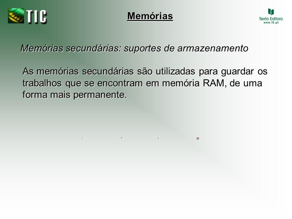 Memórias secundárias: suportes de armazenamento Memórias As memórias secundárias são utilizadas para guardar os trabalhos que se encontram em memória