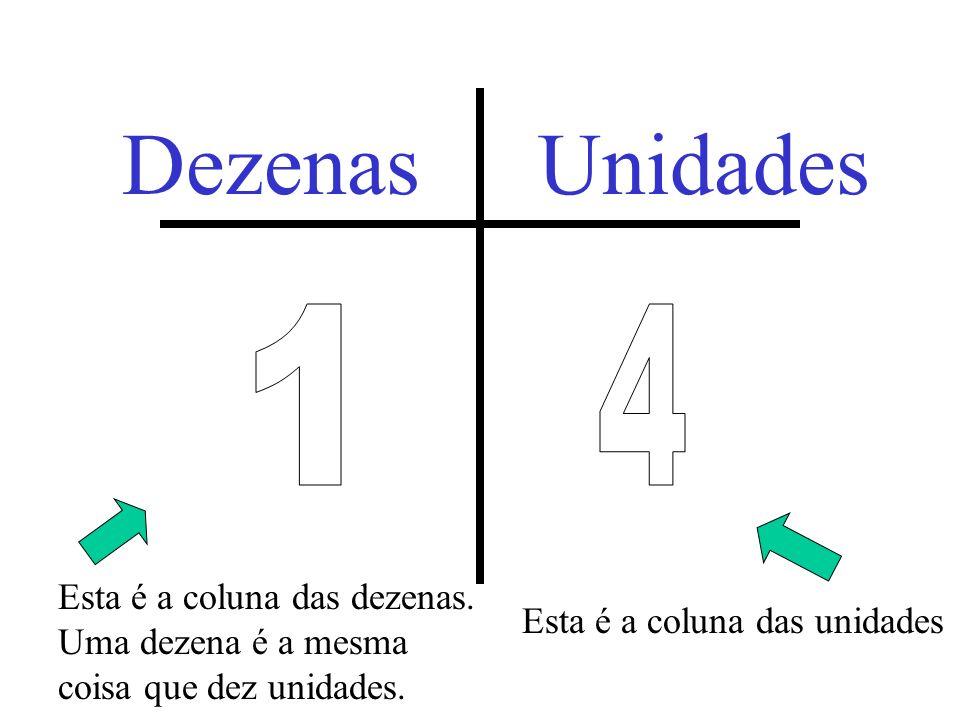 Já aprendemos que 10 unidades equivalem a 1 dezena. =