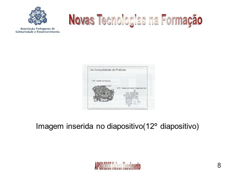 9 3° Processo:É possível também inserir uma imagem no diapositivo directamente, a partir da sua digitalização Do scanner ou da câmara efectuada pelo scanner ou atraves de uma câmara digital.
