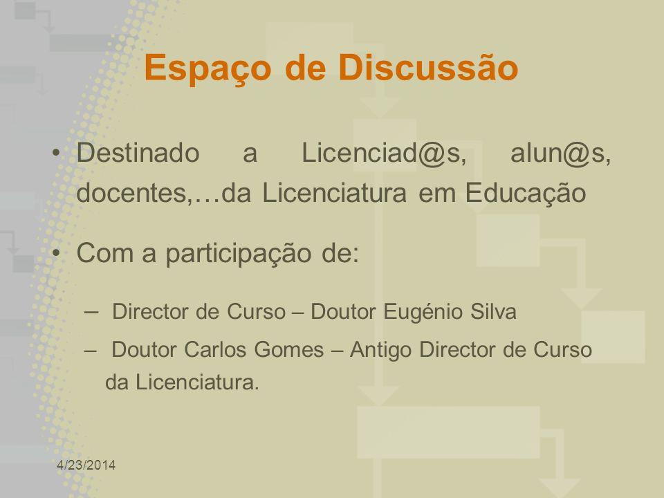 4/23/2014 Espaço de Discussão Destinado a Licenciad@s, alun@s, docentes,…da Licenciatura em Educação Com a participação de: – Director de Curso – Doutor Eugénio Silva – Doutor Carlos Gomes – Antigo Director de Curso da Licenciatura.