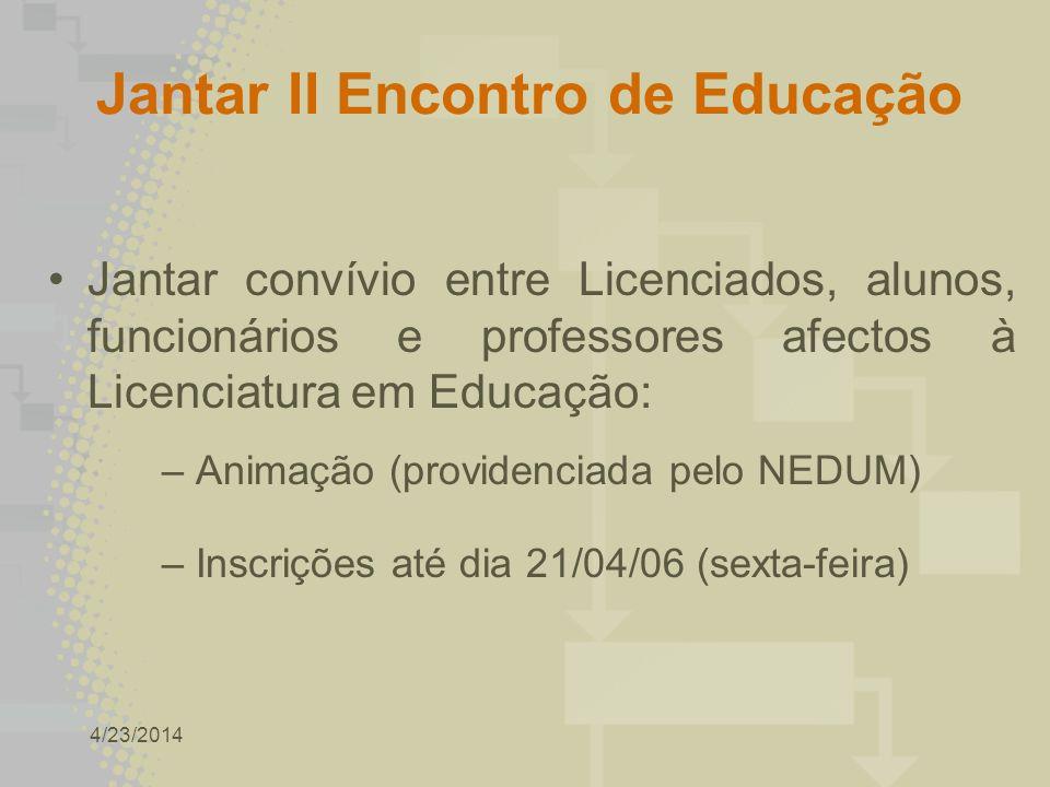 4/23/2014 Jantar II Encontro de Educação Jantar convívio entre Licenciados, alunos, funcionários e professores afectos à Licenciatura em Educação: – Animação (providenciada pelo NEDUM) – Inscrições até dia 21/04/06 (sexta-feira)