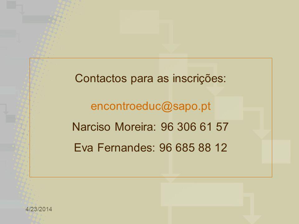 4/23/2014 Contactos para as inscrições: encontroeduc@sapo.pt Narciso Moreira: 96 306 61 57 Eva Fernandes: 96 685 88 12