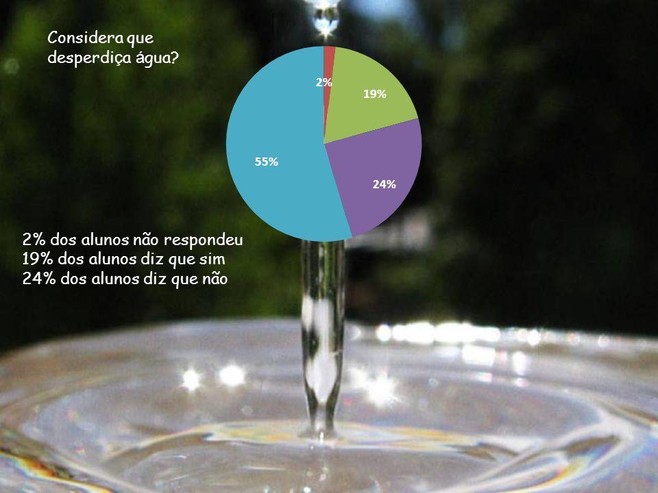2% dos alunos não respondeu 19% dos alunos diz que sim 24% dos alunos diz que não Considera que desperdi ç a á gua?