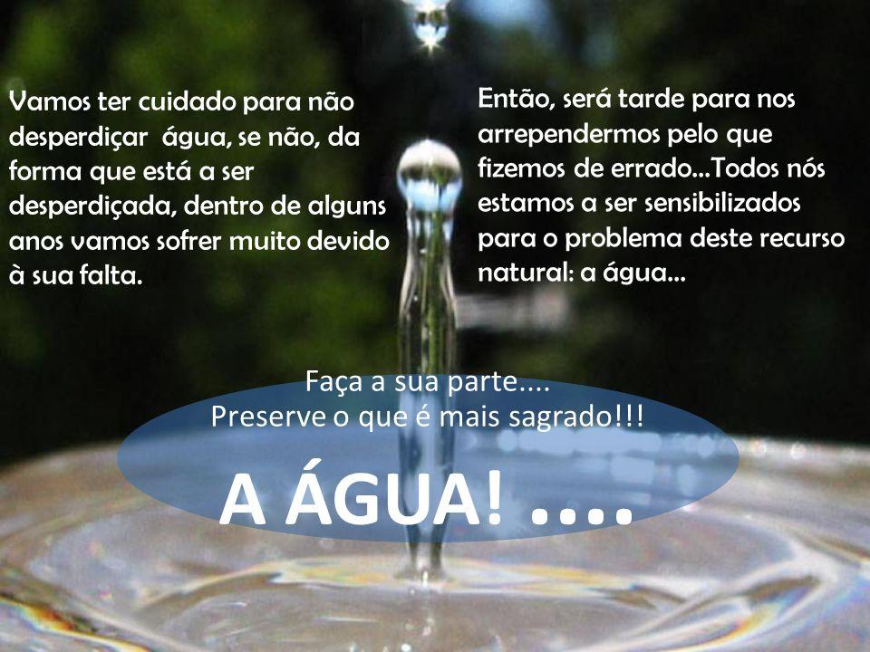 Vamos ter cuidado para não desperdiçar água, se não, da forma que está a ser desperdiçada, dentro de alguns anos vamos sofrer muito devido à sua falta
