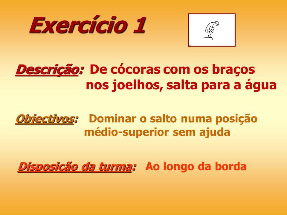 Exercício 1 Descrição: Descrição: De cócoras com os braços nos joelhos, salta para a água Objectivos: Objectivos: Dominar o salto numa posição médio-s