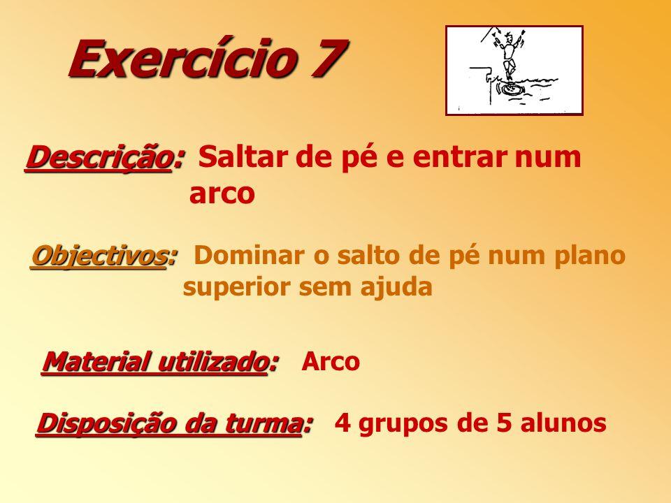 Exercício 7 Descrição: Descrição: Saltar de pé e entrar num arco Objectivos: Objectivos: Dominar o salto de pé num plano superior sem ajuda Disposição