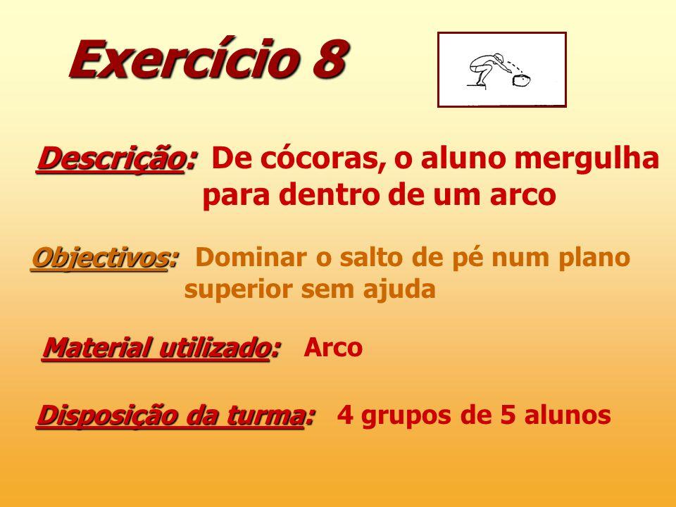 Exercício 8 Descrição: Descrição: De cócoras, o aluno mergulha para dentro de um arco Objectivos: Objectivos: Dominar o salto de pé num plano superior