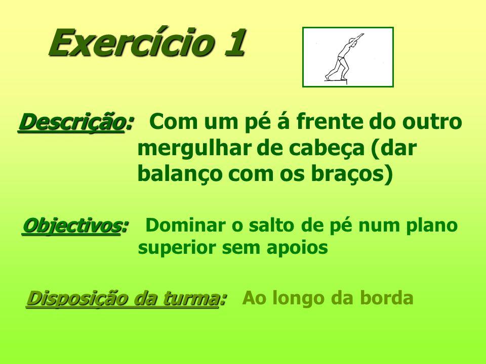 Exercício 1 Descrição: Descrição: Com um pé á frente do outro mergulhar de cabeça (dar balanço com os braços) Objectivos: Objectivos: Dominar o salto