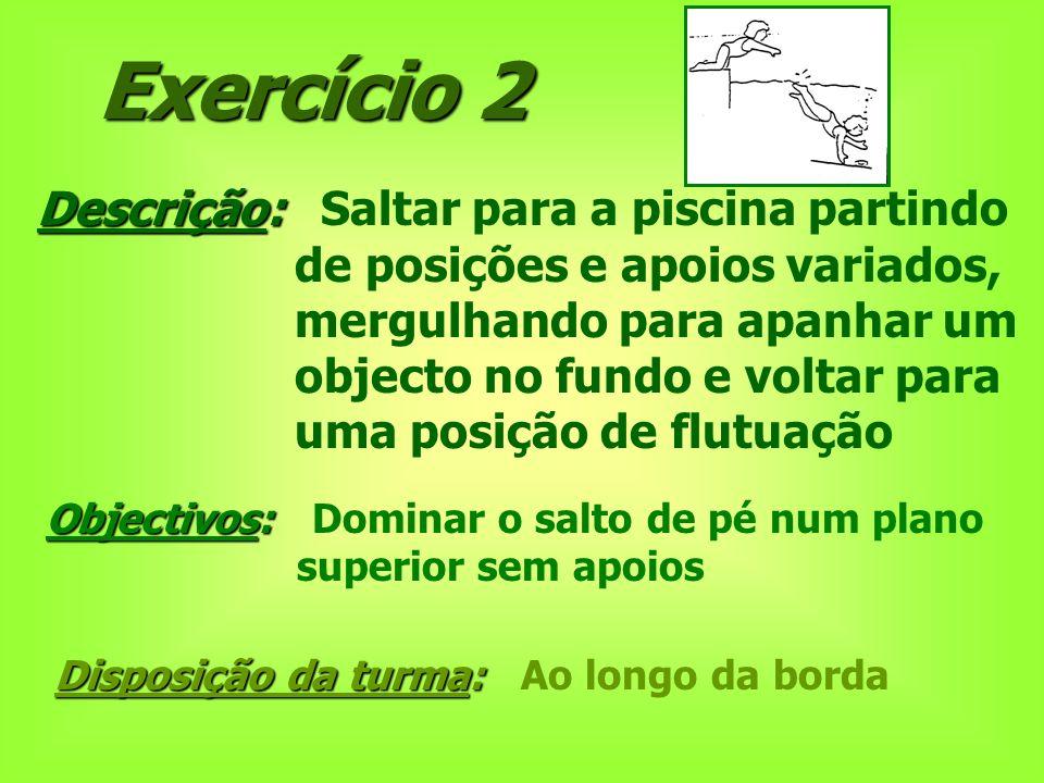 Exercício 2 Descrição: Descrição: Saltar para a piscina partindo de posições e apoios variados, mergulhando para apanhar um objecto no fundo e voltar