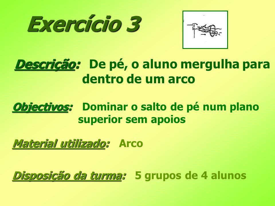 Exercício 3 Descrição: Descrição: De pé, o aluno mergulha para dentro de um arco Objectivos: Objectivos: Dominar o salto de pé num plano superior sem