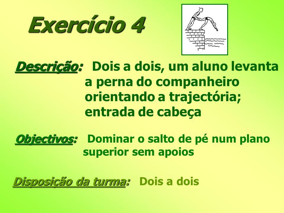Exercício 4 Descrição: Descrição: Dois a dois, um aluno levanta a perna do companheiro orientando a trajectória; entrada de cabeça Objectivos: Objecti