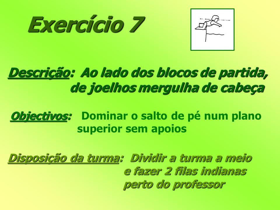 Exercício 7 Descrição: Ao lado dos blocos de partida, de joelhos mergulha de cabeça de joelhos mergulha de cabeça Objectivos: Objectivos: Dominar o sa