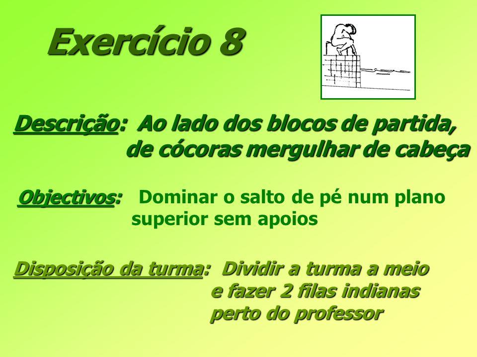 Exercício 8 Descrição: Ao lado dos blocos de partida, de cócoras mergulhar de cabeça de cócoras mergulhar de cabeça Objectivos: Objectivos: Dominar o