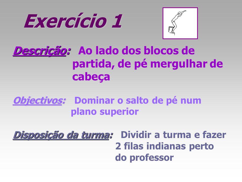 Exercício 1 Descrição: Descrição: Ao lado dos blocos de partida, de pé mergulhar de cabeça Objectivos: Objectivos: Dominar o salto de pé num plano sup