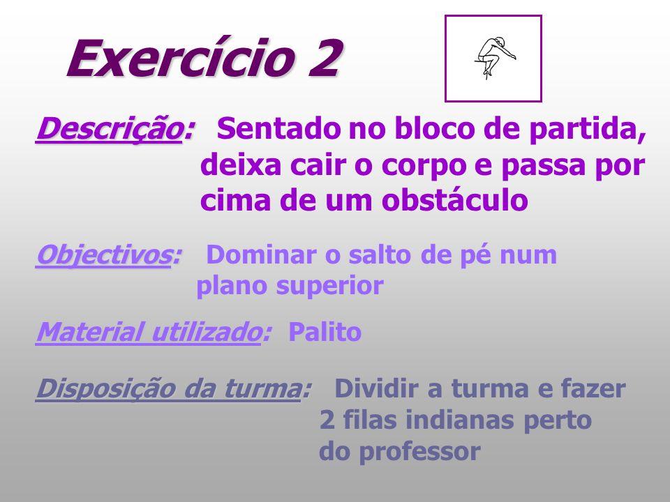 Exercício 2 Descrição: Descrição: Sentado no bloco de partida, deixa cair o corpo e passa por cima de um obstáculo Objectivos: Objectivos: Dominar o s