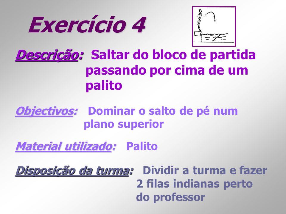 Exercício 4 Descrição: Descrição: Saltar do bloco de partida passando por cima de um palito Objectivos: Objectivos: Dominar o salto de pé num plano su