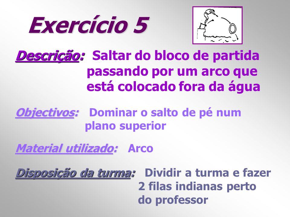 Exercício 5 Descrição: Descrição: Saltar do bloco de partida passando por um arco que está colocado fora da água Objectivos: Objectivos: Dominar o sal