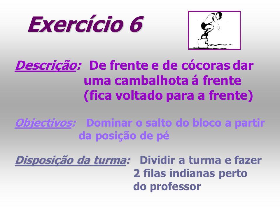 Exercício 6 Descrição: Descrição: De frente e de cócoras dar uma cambalhota á frente (fica voltado para a frente) Objectivos: Objectivos: Dominar o sa