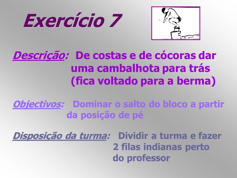 Exercício 7 Descrição: Descrição: De costas e de cócoras dar uma cambalhota para trás (fica voltado para a berma) Objectivos: Objectivos: Dominar o sa