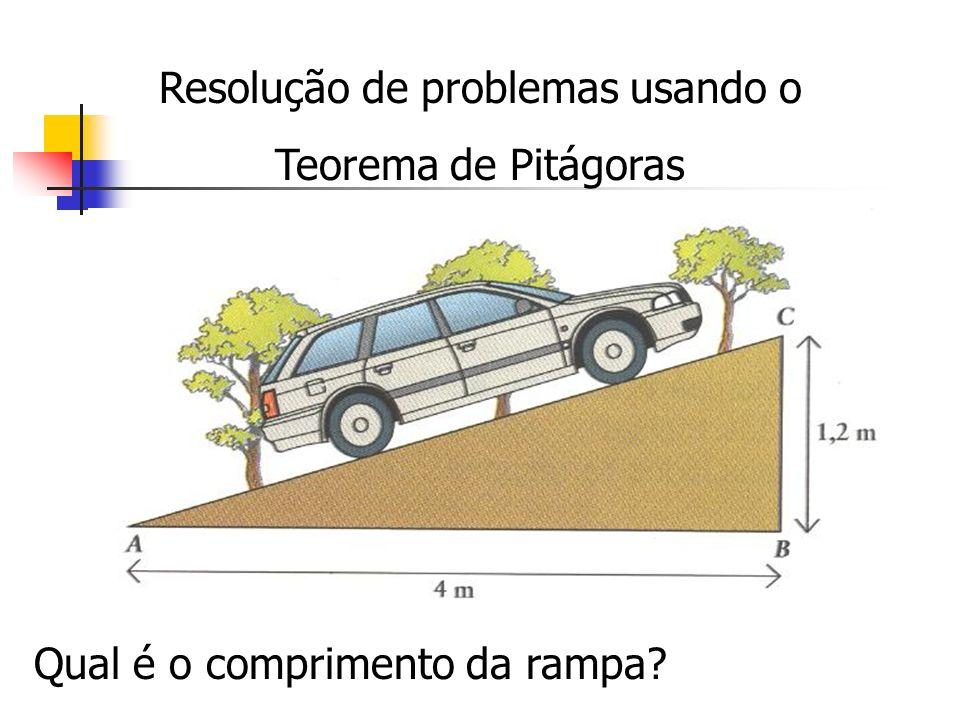 Resolução de problemas usando o Teorema de Pitágoras Qual é o comprimento da rampa?