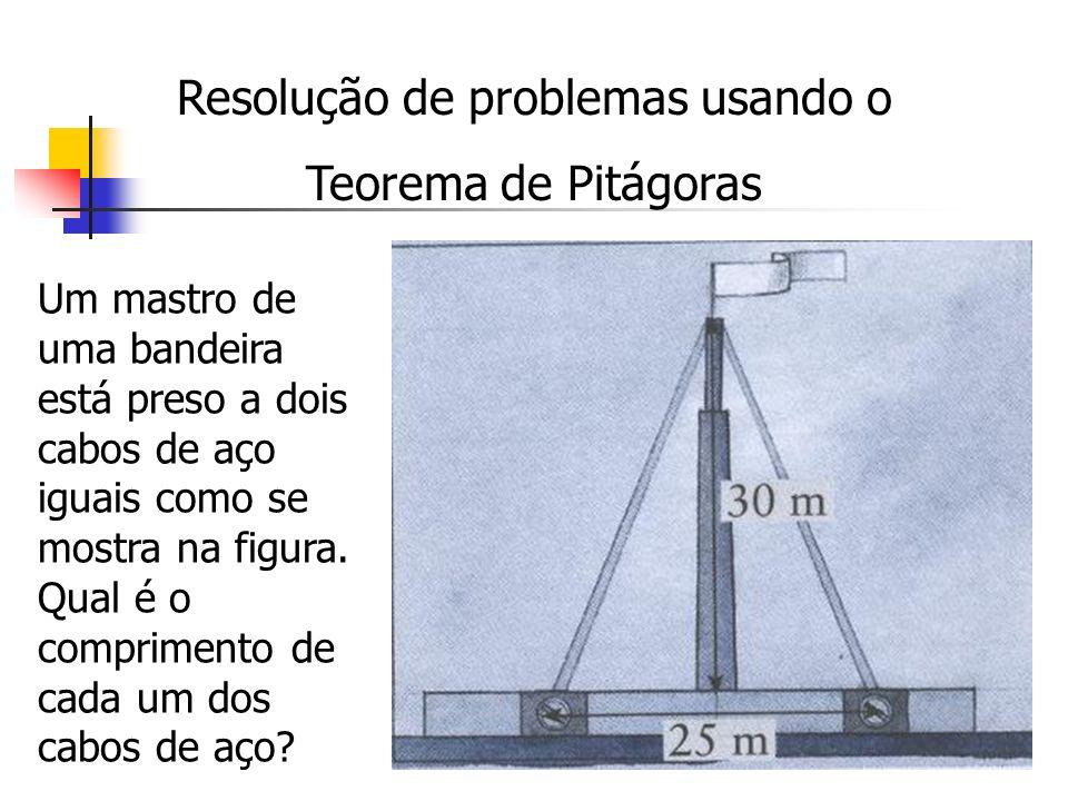 Resolução de problemas usando o Teorema de Pitágoras Um mastro de uma bandeira está preso a dois cabos de aço iguais como se mostra na figura. Qual é