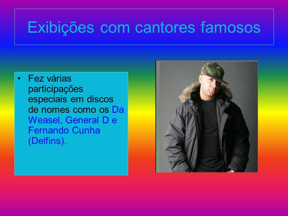 Exibições com cantores famosos Fez várias participações especiais em discos de nomes como os Da Weasel, General D e Fernando Cunha (Delfins).