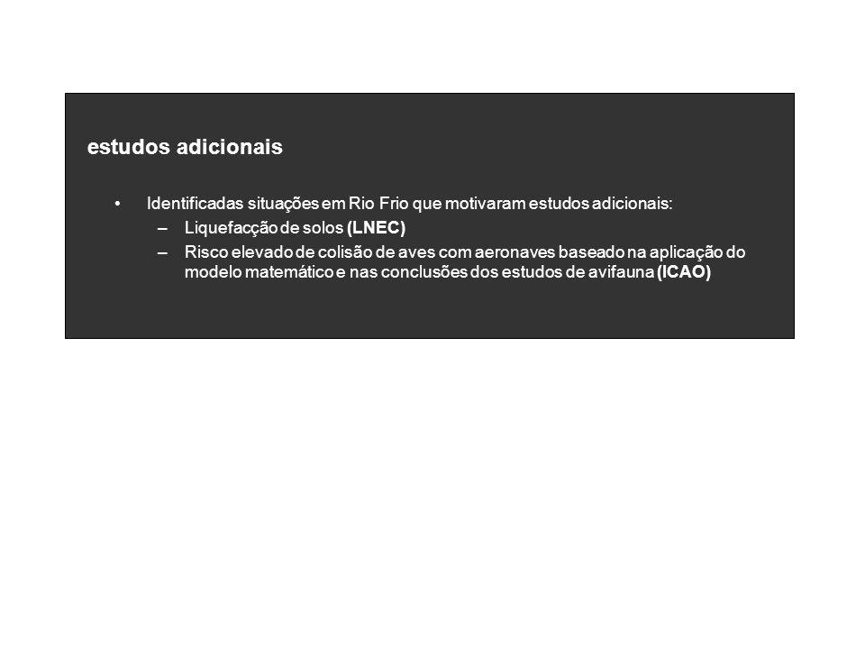 estudos adicionais Identificadas situações em Rio Frio que motivaram estudos adicionais: –Liquefacção de solos (LNEC) –Risco elevado de colisão de ave