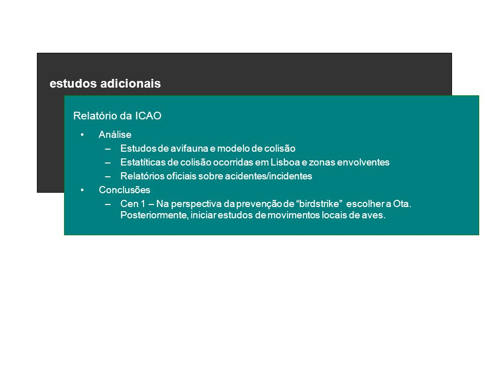 estudos adicionais Relatório da ICAO Análise –Estudos de avifauna e modelo de colisão –Estatíticas de colisão ocorridas em Lisboa e zonas envolventes