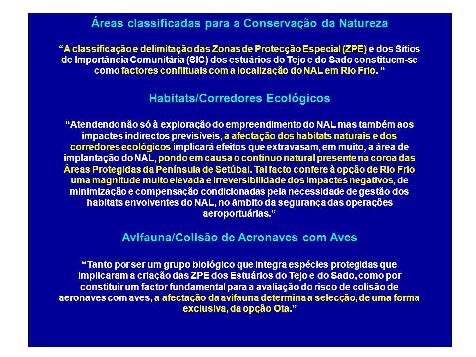 Áreas classificadas para a Conservação da Natureza A classificação e delimitação das Zonas de Protecção Especial (ZPE) e dos Sítios de Importância Com