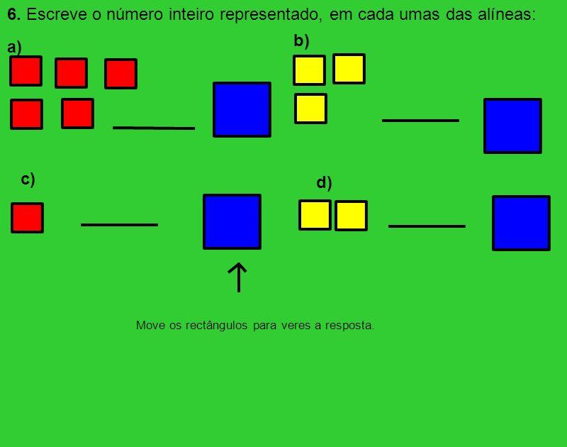 6. Escreve o número inteiro representado, em cada umas das alíneas: -5 +3 +2 Move os rectângulos para veres a resposta. a) b) c) d)