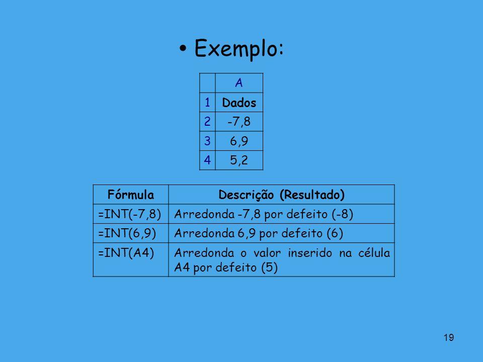 19 Exemplo: A 1Dados 2-7,8 36,9 45,2 FórmulaDescrição (Resultado) =INT(-7,8)Arredonda -7,8 por defeito (-8) =INT(6,9)Arredonda 6,9 por defeito (6) =IN