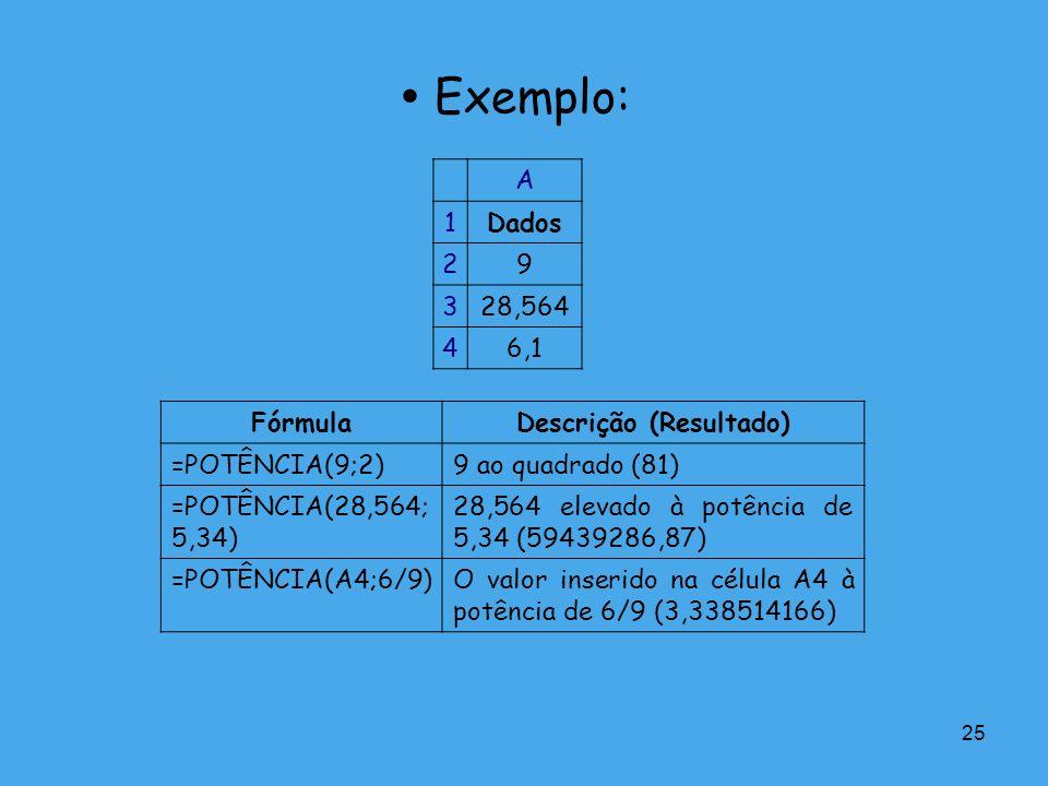 25 Exemplo: A 1Dados 29 328,564 46,1 FórmulaDescrição (Resultado) =POTÊNCIA(9;2)9 ao quadrado (81) =POTÊNCIA(28,564; 5,34) 28,564 elevado à potência d