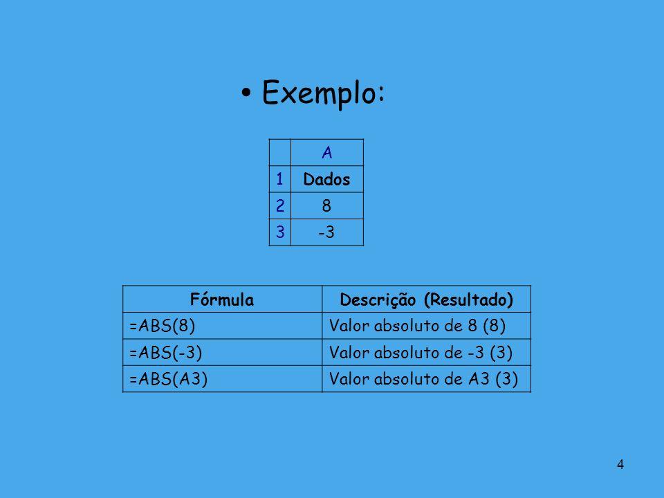 4 Exemplo: A 1Dados 28 3-3 FórmulaDescrição (Resultado) =ABS(8)Valor absoluto de 8 (8) =ABS(-3)Valor absoluto de -3 (3) =ABS(A3)Valor absoluto de A3 (