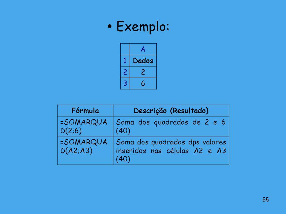 55 Exemplo: A 1Dados 22 36 FórmulaDescrição (Resultado) =SOMARQUA D(2;6) Soma dos quadrados de 2 e 6 (40) =SOMARQUA D(A2;A3) Soma dos quadrados dps va