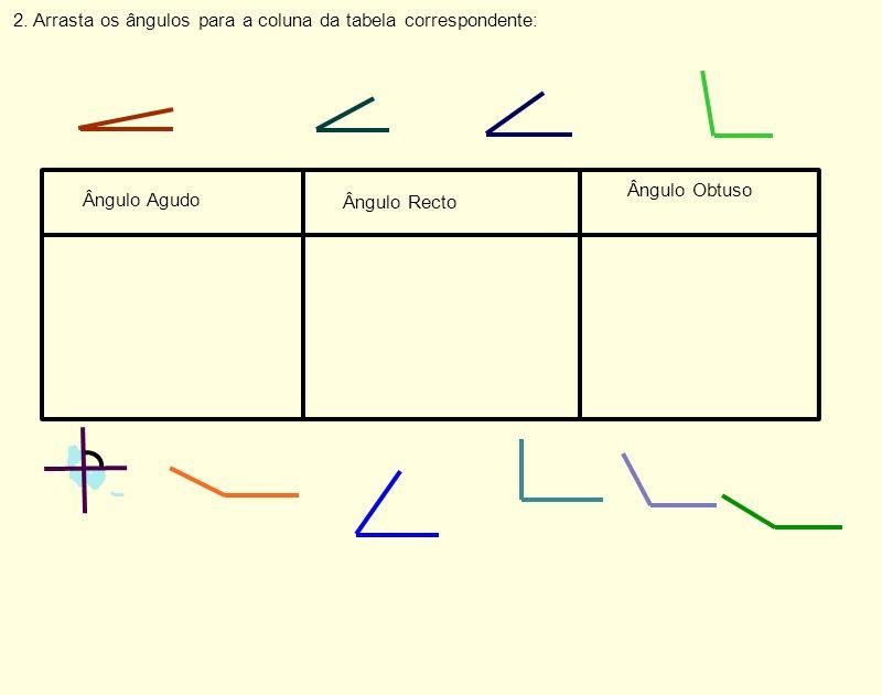 2. Arrasta os ângulos para a coluna da tabela correspondente: Ângulo Agudo Ângulo Recto Ângulo Obtuso