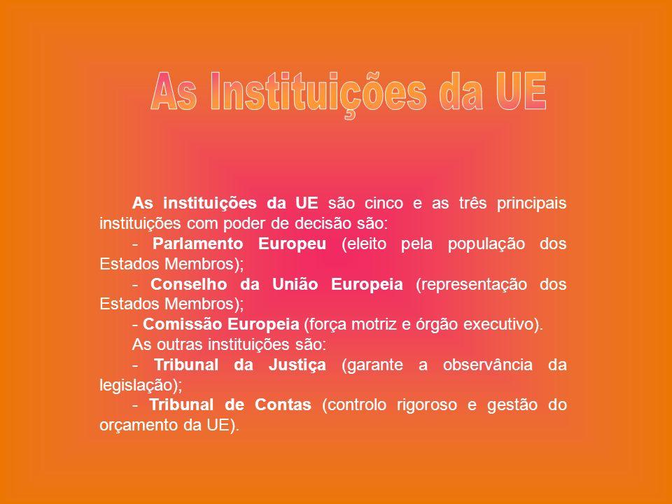 As instituições da UE são cinco e as três principais instituições com poder de decisão são: - Parlamento Europeu (eleito pela população dos Estados Me