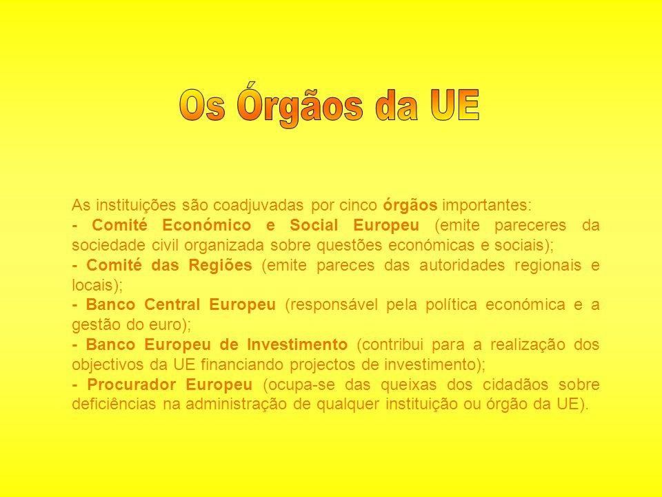 As instituições são coadjuvadas por cinco órgãos importantes: - Comité Económico e Social Europeu (emite pareceres da sociedade civil organizada sobre