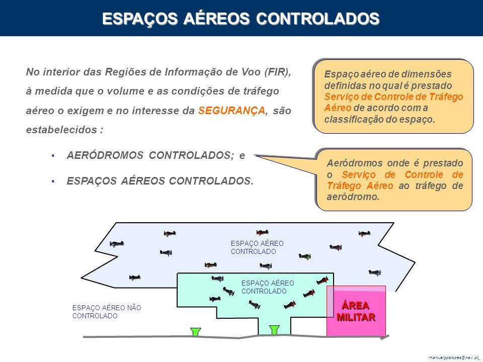 manuelgpslopes@nav.pt No interior das Regiões de Informação de Voo (FIR), à medida que o volume e as condições de tráfego aéreo o exigem e no interesse da SEGURANÇA, são estabelecidos : AERÓDROMOS CONTROLADOS; e ESPAÇOS AÉREOS CONTROLADOS.