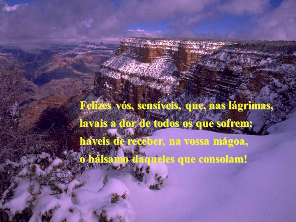 Felizes vós, sensíveis, que, nas lágrimas, lavais a dor de todos os que sofrem: haveis de receber, na vossa mágoa, o bálsamo daqueles que consolam!