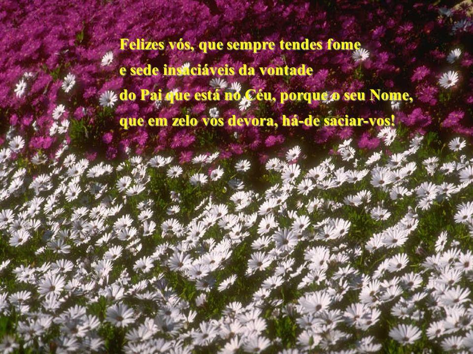 Felizes vós, que sempre tendes fome e sede insaciáveis da vontade do Pai que está no Céu, porque o seu Nome, que em zelo vos devora, há-de saciar-vos!