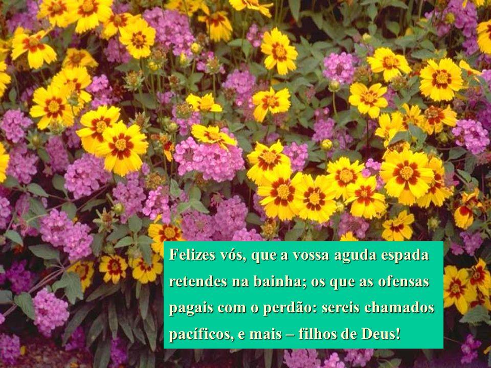 Felizes vós, que a vossa aguda espada retendes na bainha; os que as ofensas pagais com o perdão: sereis chamados pacíficos, e mais – filhos de Deus!