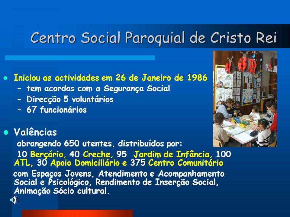 Centro Social Paroquial de Cristo Rei Iniciou as actividades em 26 de Janeiro de 1986 –tem acordos com a Segurança Social –Direcção 5 voluntários –67