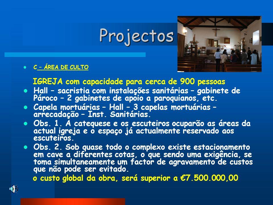 Projectos C – ÁREA DE CULTO IGREJA com capacidade para cerca de 900 pessoas Hall – sacristia com instalações sanitárias – gabinete de Pároco – 2 gabin