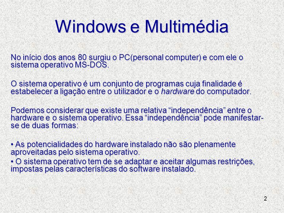 2 Windows e Multimédia No início dos anos 80 surgiu o PC(personal computer) e com ele o sistema operativo MS-DOS. O sistema operativo é um conjunto de