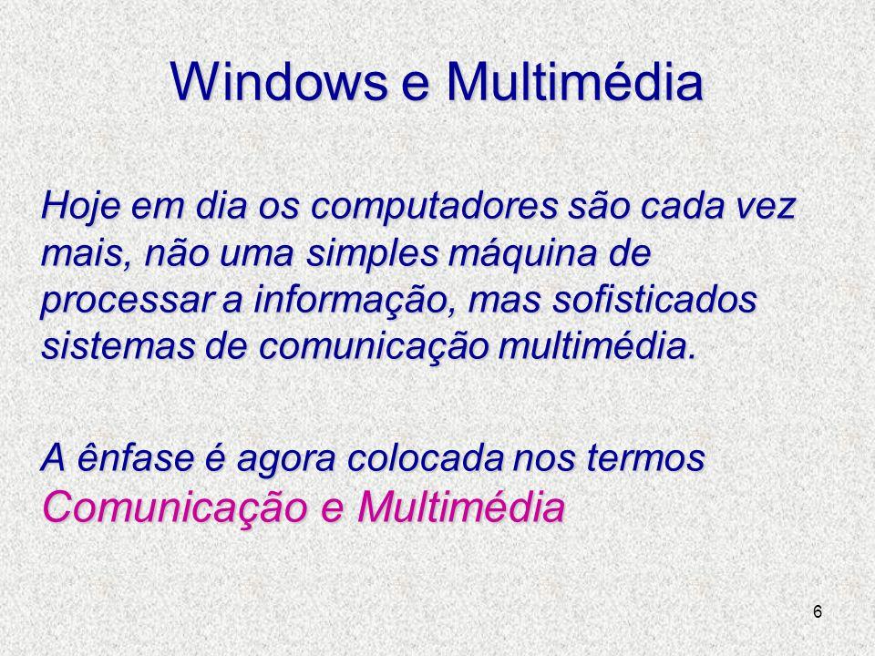 6 Windows e Multimédia Hoje em dia os computadores são cada vez mais, não uma simples máquina de processar a informação, mas sofisticados sistemas de