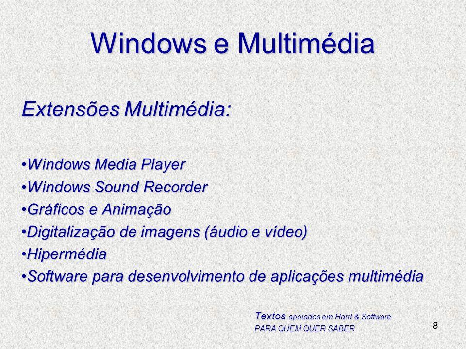 8 Windows e Multimédia Extensões Multimédia: Windows Media PlayerWindows Media Player Windows Sound RecorderWindows Sound Recorder Gráficos e Animação